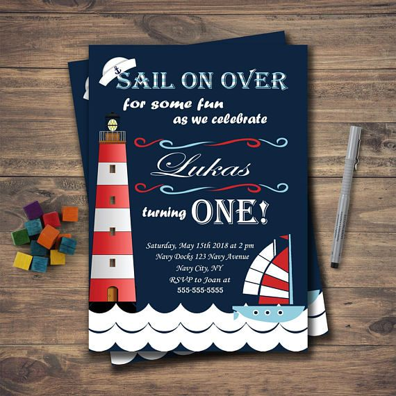 Navy Blue Sailor Birthday Party Invitation, Nautical Party, Sail on over, First birthday, printable birthday invite, lighthouse, sailor hat  Invite your guests to your kids birthday party with this cute Nautical Sail Boy printable invitation - 5x7in This listing is a digital file customized with your personalized information. No printed materials will be shipped. You can print as many as you want!