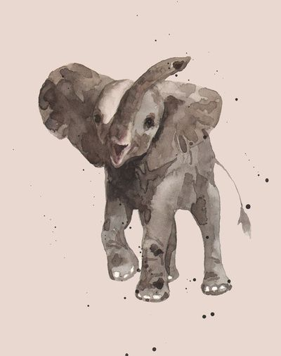 Add a delicate touch of #rose to your little #baby girl's nursery with my welcoming trumpeting #elephant!  Rose Gray Elephant Art Print