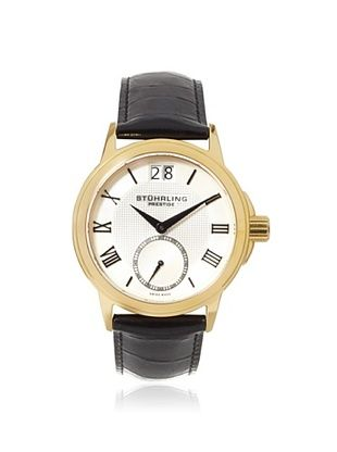 57% OFF Stuhrling Men's 384.33352 Prestige Black/Gold Stainless Steel Watch