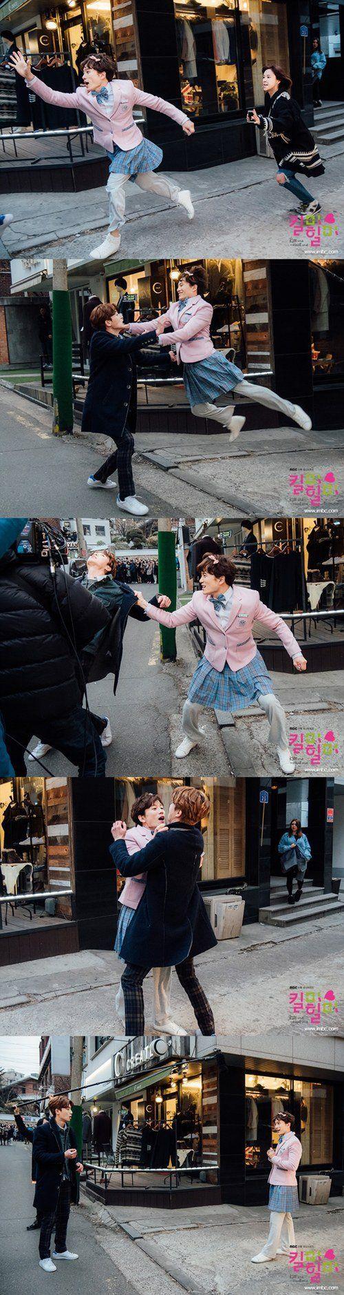'Kill Me, Heal Me' Behind-the-Scene stills of kissing scene between Ji Seong and Park Seo-joon featuring hilarious action acting @ HanCinema :: The Korean Movie and Drama Database