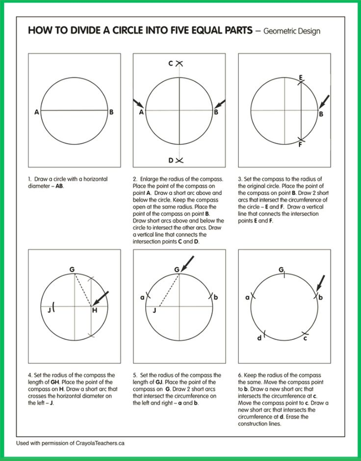 How To Divide A Circle Into 5 Equal Parts Crayons
