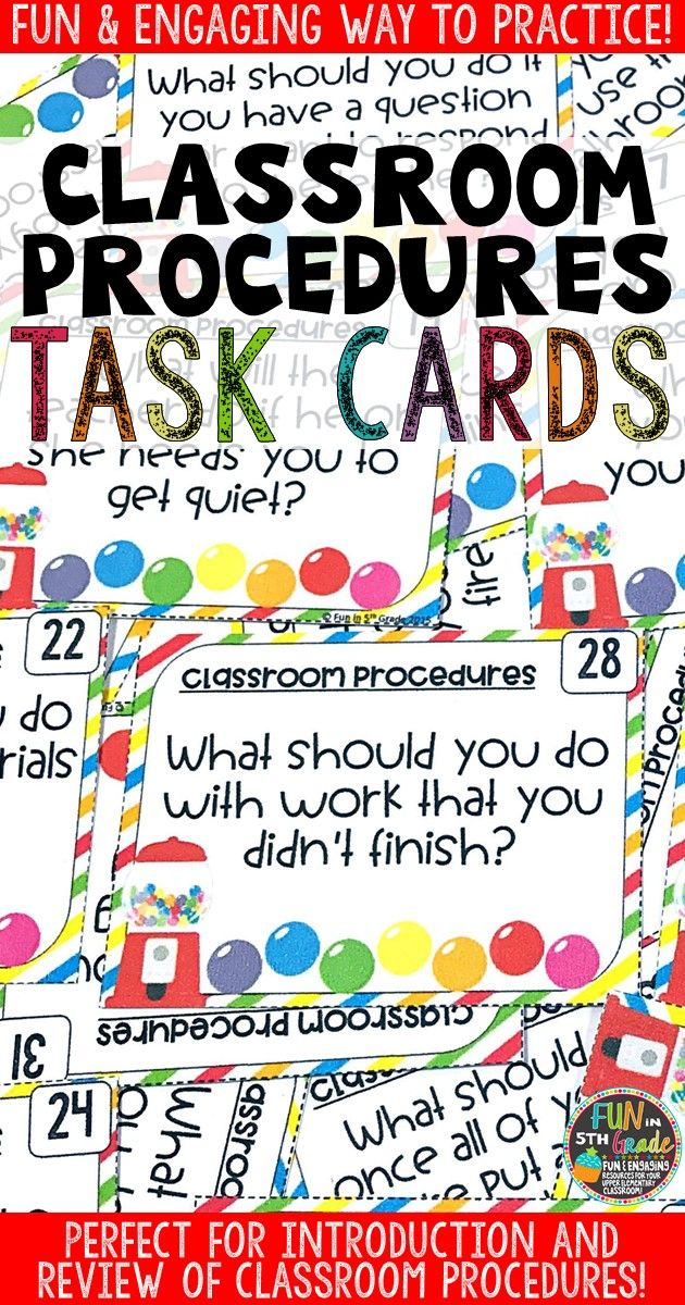 Classroom procedures are so important to teach during back to school time! These task cards will help back to introduction and review of the procedures fun & engaging. Task cards can be used in so many ways! Perfect to whip out after breaks, too!