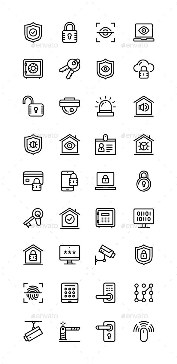 Security and Protection Simple Vector Icons for Web and Mobile Design Pack