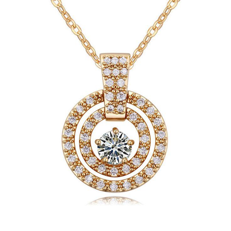 Топ-дизайна мода ожерелье 18 К позолоченные циркон камень ожерелье из колье части с витрина ювелирных изделий для любви