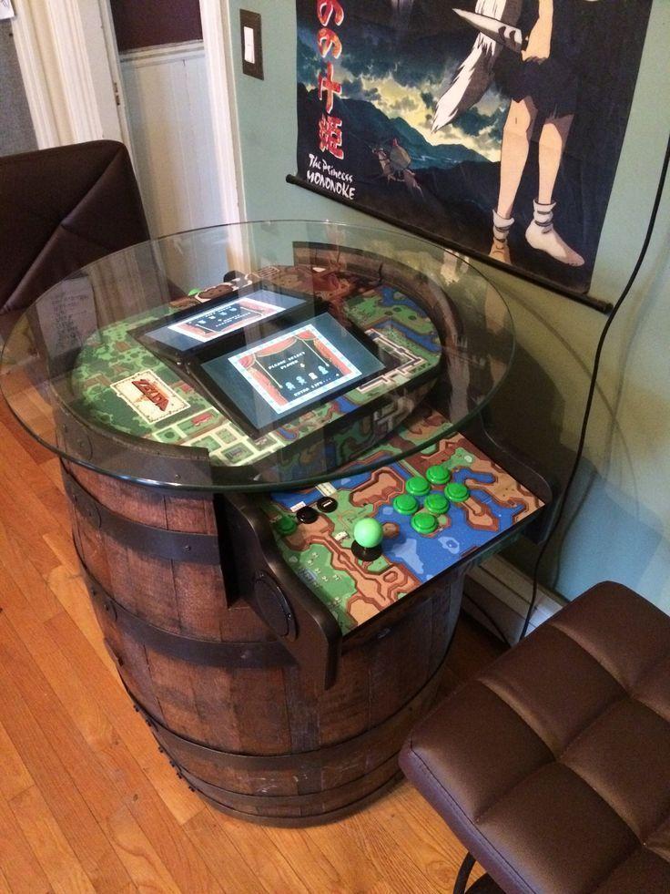 Barrel Arcade, Zelda Theme –  – #GamerRoom|DIY – #arcade #barrel #gamerroom #theme