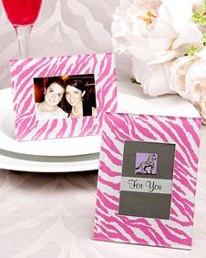 pink zebra pattern place card frame favors wedding favor