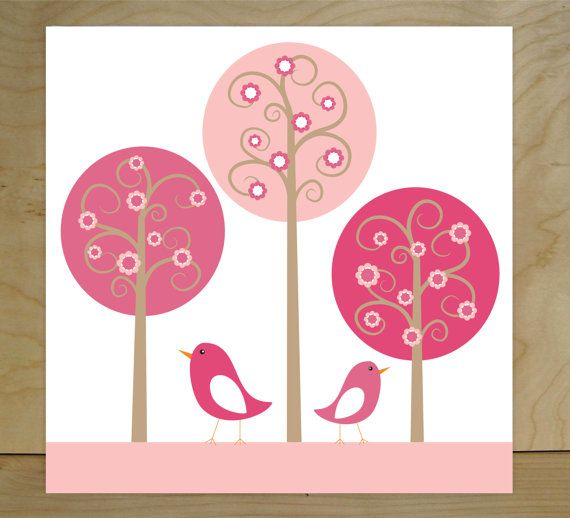 Nursery art canvases Birds and Trees set of 3 by FieldandFlower, $70.00: Kids Rooms Decor, Art Canvas, Stretch Canvas, Birds Nurseries, Canvas Wall Art, Nurseries Wall Art, Nurseries Art, Art Kids, Decor Sets