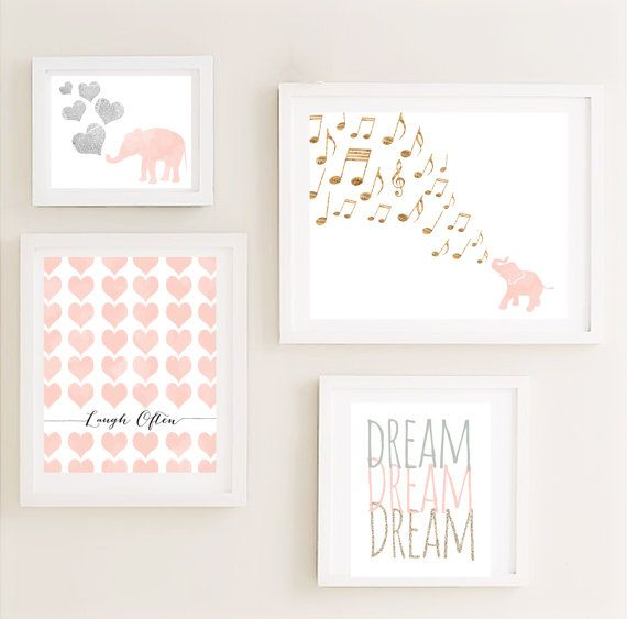 Printable - Gallery Nursery Wall Art Set Vintage Elephant Hearts Dream Poster Nursery Children Kids Art Peach Instant Download, $24