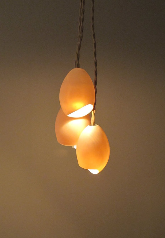 porcelain cluster hanging light (3 ovals) - $225 for this configuration from farrahsit on etsy