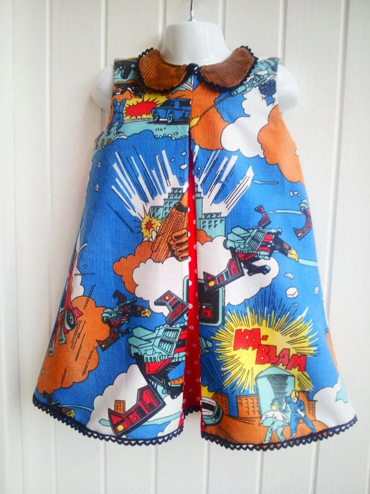 Peter Collar Pleat dress Vintage Transformers fabric