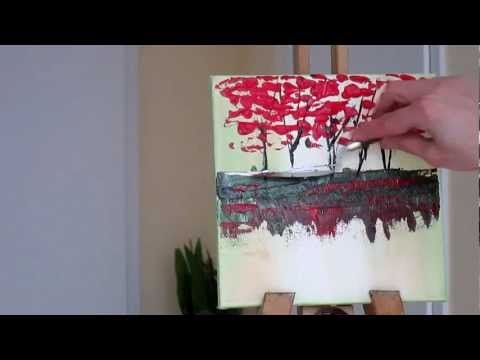 Tanja Bell How to Paint  Trees  Painting  with Palette Knife Tutorial Le...