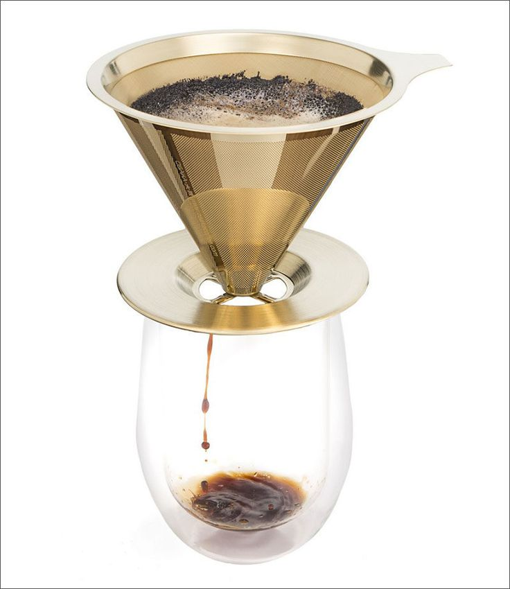 17 Modern Coffee Makers That You'll Want To Show Off // Even though the mesh of this reusable filter isn't covered by anything, the coffee still ends up in the mug thanks to the conical shape of the dripper.