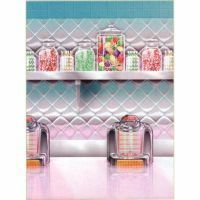 39 - Rock N Roll Soda Shop Wall Scene Setter. Scene Setter Wall Soda Shop (120cm x 12m) - Roll