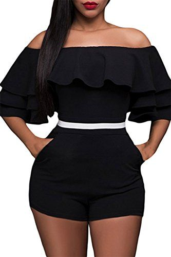 Special Offer: $19.99 amazon.com 95% Polyester 5% SpandexOff-the-shoulder and rufflesHigh-waist shorts with invisible side zipperBodycon, fashion, sexyOccasion: club, party, night out, going out, casual