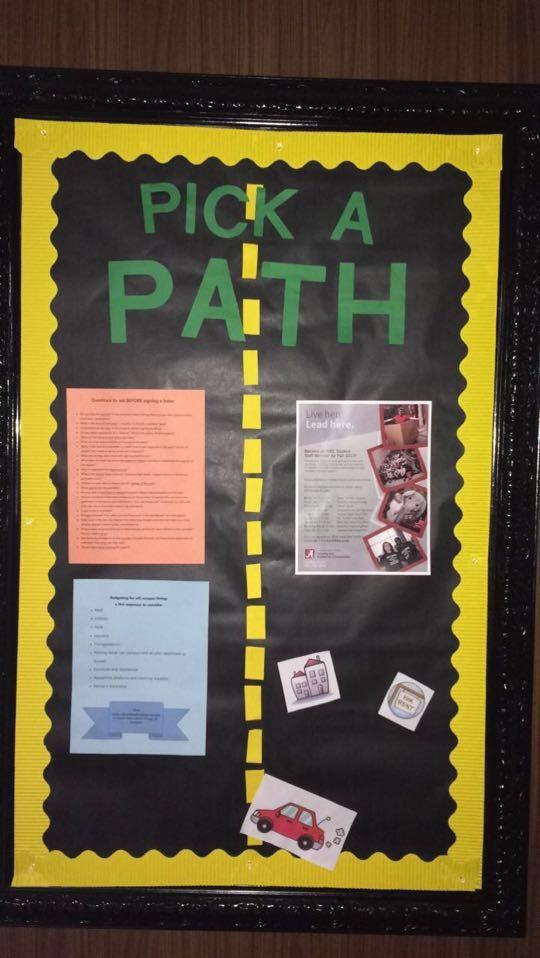 Pick a Path bulletin board. housing staff recruitment or off-campus housing resources. #RA #FA #housing #bulletinboard #path #car #road #PersonalDevelopment #ResidenceHall #UniversityofAlabama