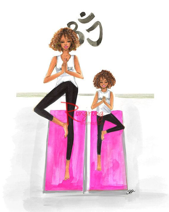 Mom and daughter illustration, Yoga wall art by RongrongIllustration, more at www.rongrongillustration.etsy.com