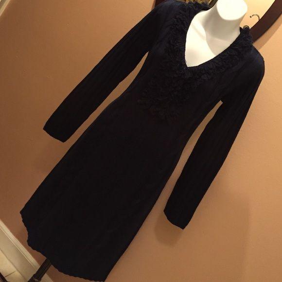 Dark blue winter dress Nice warm dress Nina leonard Dresses Midi