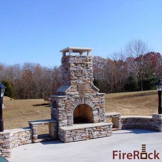 House Outdoor Fireplaces Outdoor Spaces Stacked Stone Fireplaces