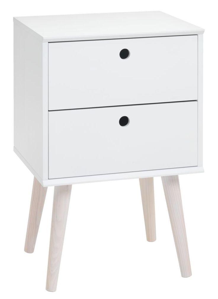 Nachtkastje OPLEV 2 lades wit/grenen | JYSK