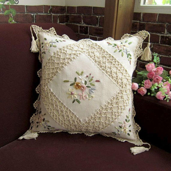 Off-White Pillowcase, Ribbon embroidery Pillow, 100% cotton, eco-friendly. Please repin it if you like :)