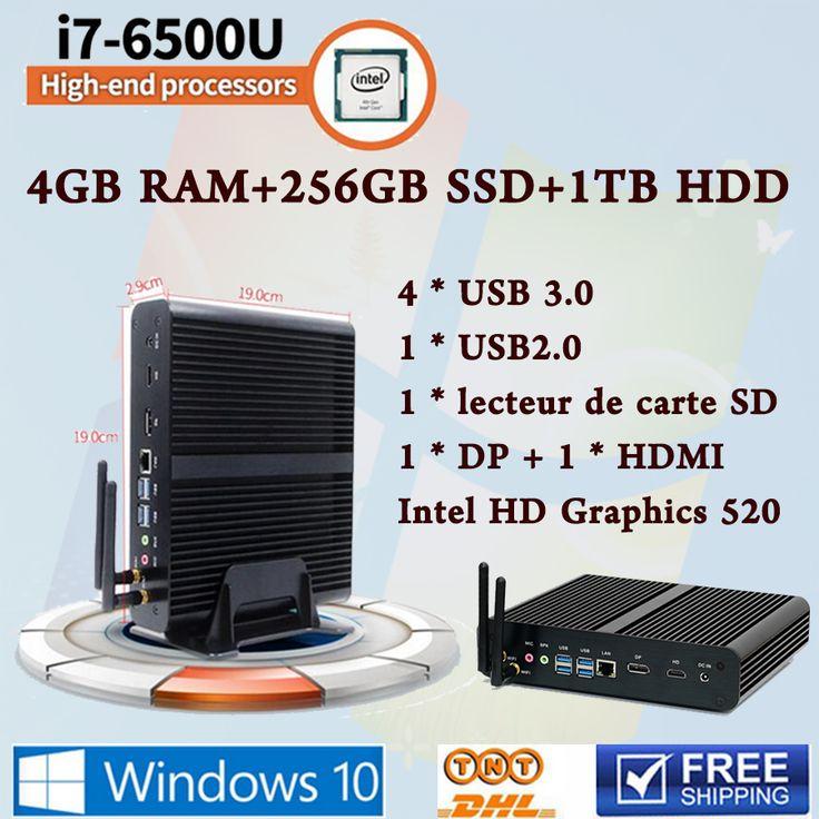Mini PC Compute Core i7 6500U Max 3.1 GHz Intel HD Graphics 520 Micro Ordinateur HTPC Windows10,Linux desktop computers Fanless