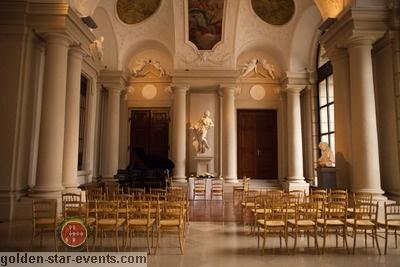 Liechtenstein Palace in Vienna through golden star events.