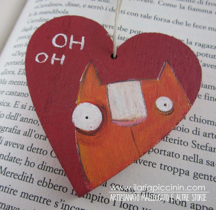 Cuore in legno rosso- Cuore illustrato - Gatto rosso dipinto a mano di IlariaPiccininStore su Etsy