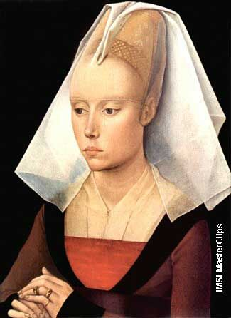 "See the pins!  ""Portrait of a Lady"" by Roger van der Weyden (1399-1464)."