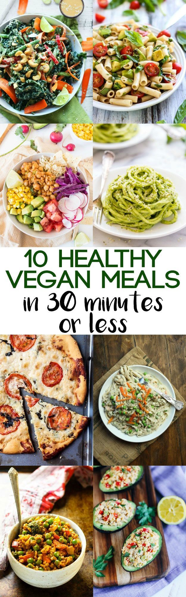 You can still enjoy a healthy dinner! These 10 healthy vegan meals in 30 minutes or less will save you on busy weeknights.