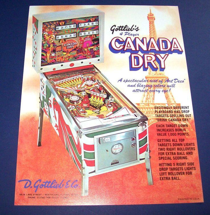 CANADA DRY By GOTTLIEB 1977 ORIGINAL NOS PINBALL MACHINE