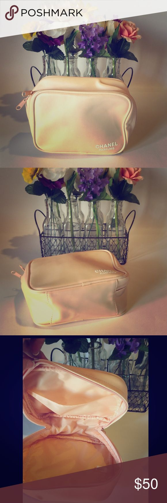 AUTHENTIC CHANEL MAKEUP BAG OR TRAVEL CASE HAS A FEW RUB MARKS OTHER WISE NOT NOTICEABLE UNLESS U LOOK FOR IT PRICED ACCORDINGLY PERFECT FOR TRAVEL OR FOR MAKEUP OR A SMALL BAG FOR YOUR CAR SWEET PEACH COLOR FOR CHANEL CHANCE CHANEL Bags Cosmetic Bags & Cases