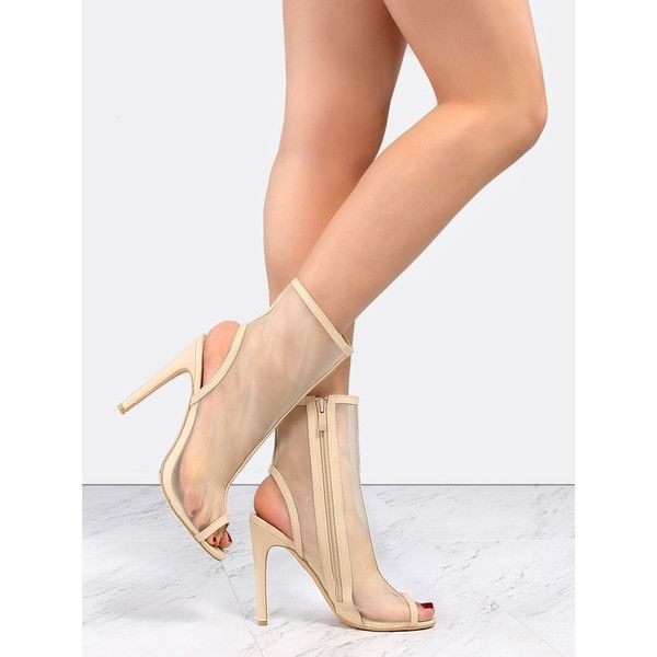 Mesh Peep Toe Ankle Boots NUDE ($40) ❤ liked on Polyvore featuring shoes, boots, ankle booties, nude, stiletto ankle boots, peep toe ankle boots, nude ankle boots, high heel boots and ankle boots