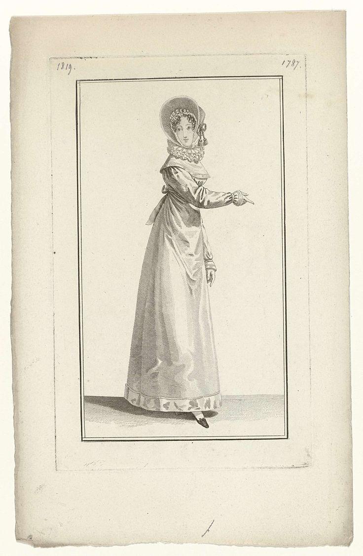 Anonymous | Journal des Dames et des Modes, Costume Parisien, 5 janvier 1819 (1787), Anonymous, Pierre de la Mésangère, 1819 | Vrouw, lopend naar rechts, met op het hoofd een luifelhoed van castor (bever-bont), afgezet met een 'gance d'or' (goudkleurige trens?). Zij draagt een japon met lange mouwen: 'robe de Lévantine'. Hoge geplooide kraag. platte schoen met strik. Proefdruk van een prent uit het modetijdschrift Journal des Dames et des Modes, uitgegeven door Pierre de la Mésangère…