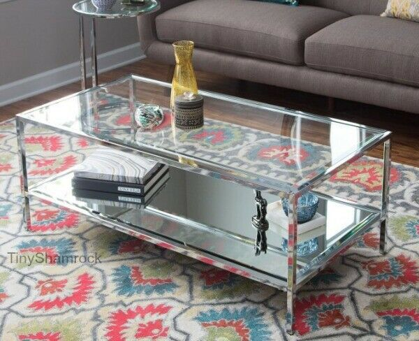 Chrome Coffee Table Glass Topped Mirrored Luxe Modern Living Room Furniture New Tinyshamrock Modern Furniture Living Room Living Room Side Table Coffee Table