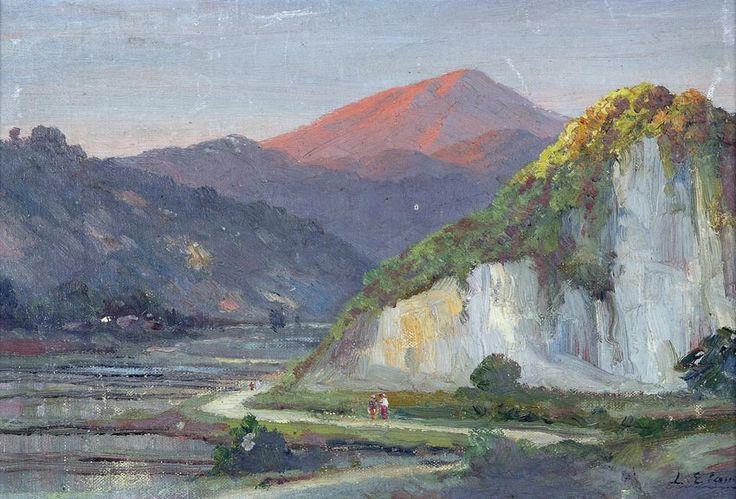 Leo Eland (Java, 1884 - 1952) - Walking Down a Valley Road.