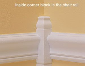 Corner Block Moulding - Not only is this elegant, but it would save the hassle of measuring and cutting a 45 degree angle.