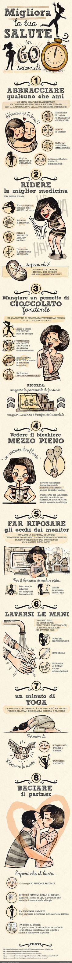 MIGLIORA LA TUA SALUTE IN 60 SECONDI -esseredonnaonline.it- illustrated by Alice Kle Borghi kleland.com