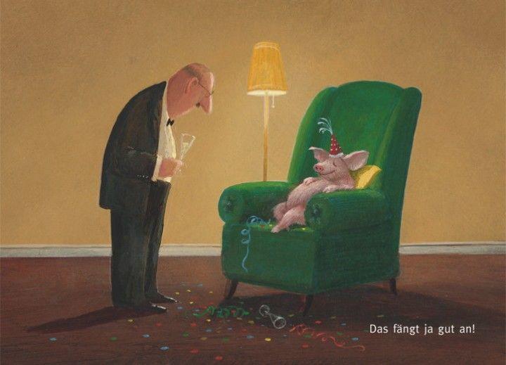 Das fängt ja gut an: Illustration by Gerhard Glück (10,5 x 14,8 cm Postkarte, €1.00) #illustration #Gerhard_Glueck #New_Year #swine