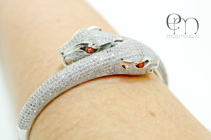 Bracelete em Prata com microzircôneas inspired Cartier.