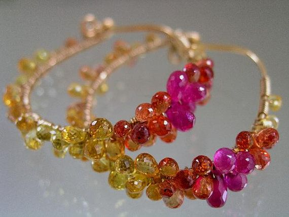 Forever and AlwaysYellow Orange Red Sapphire Pink by bellajewelsII, $298.00
