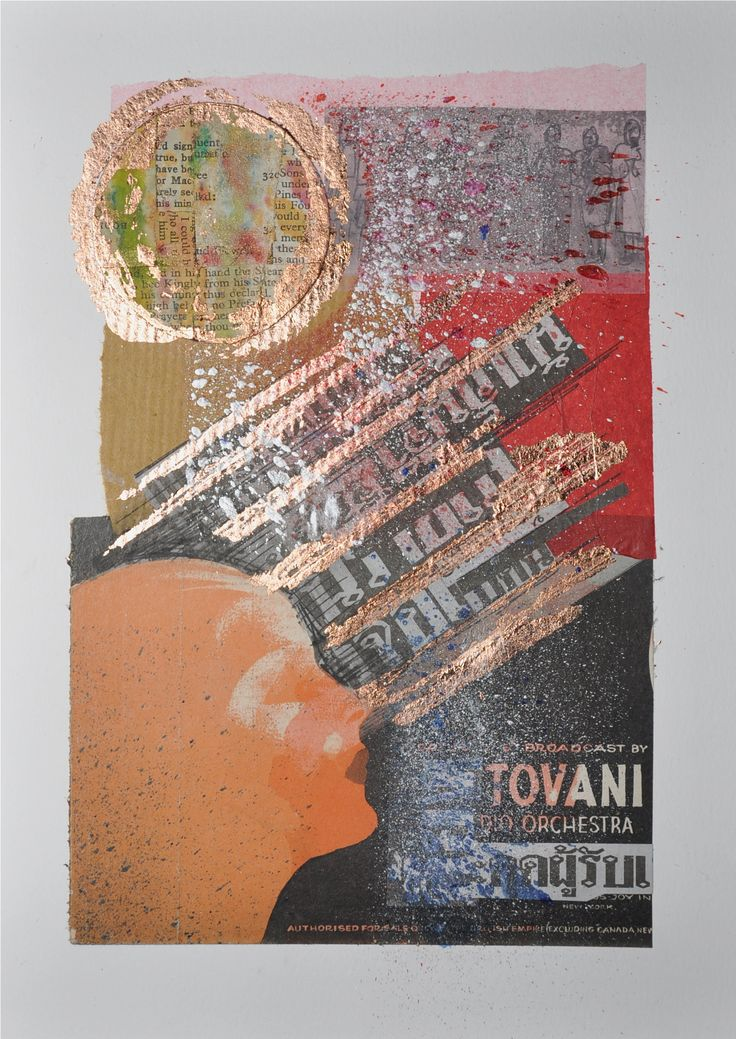 Collage - cut and paste- vintage - paper - book pages - copper leaf - ink
