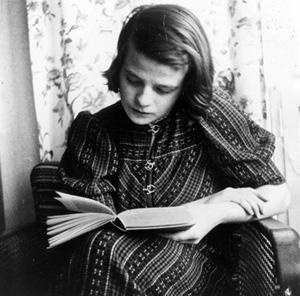 "Sophie Scholl, German anti-war resistant and campaigner for the Truth, who sacrificed her life for her convictions, studying. Sophie was executed by guillotine on 22 February, 1943, only a few hours after being sentenced to death by the Nazi ""People's Court"", presided over by Judge Roland Friesler."