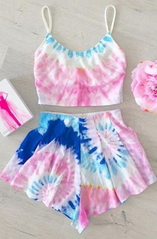 sweet pink and blue tie dye beach shorts twinset - Colorant Bain