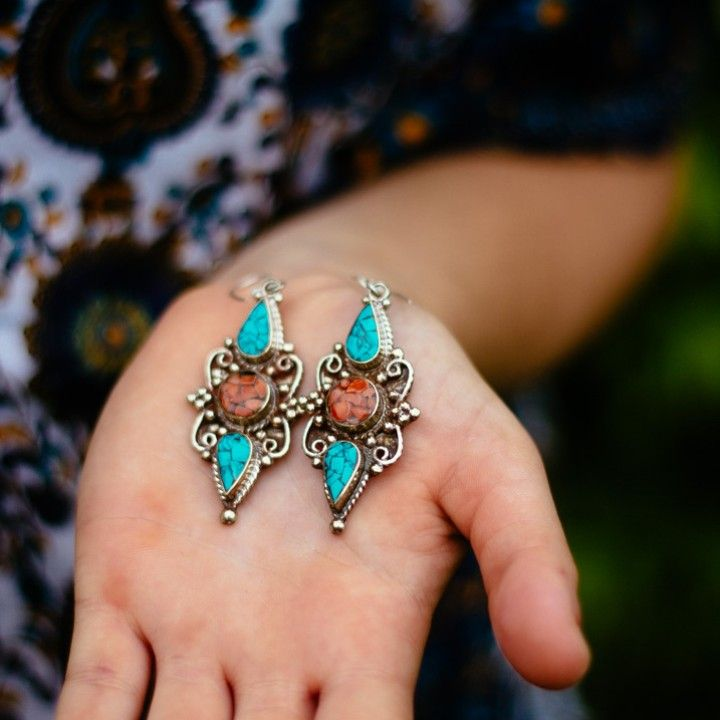 Nepalese Silver Turquoise and Coral Earrings from Trouvaille Boutique