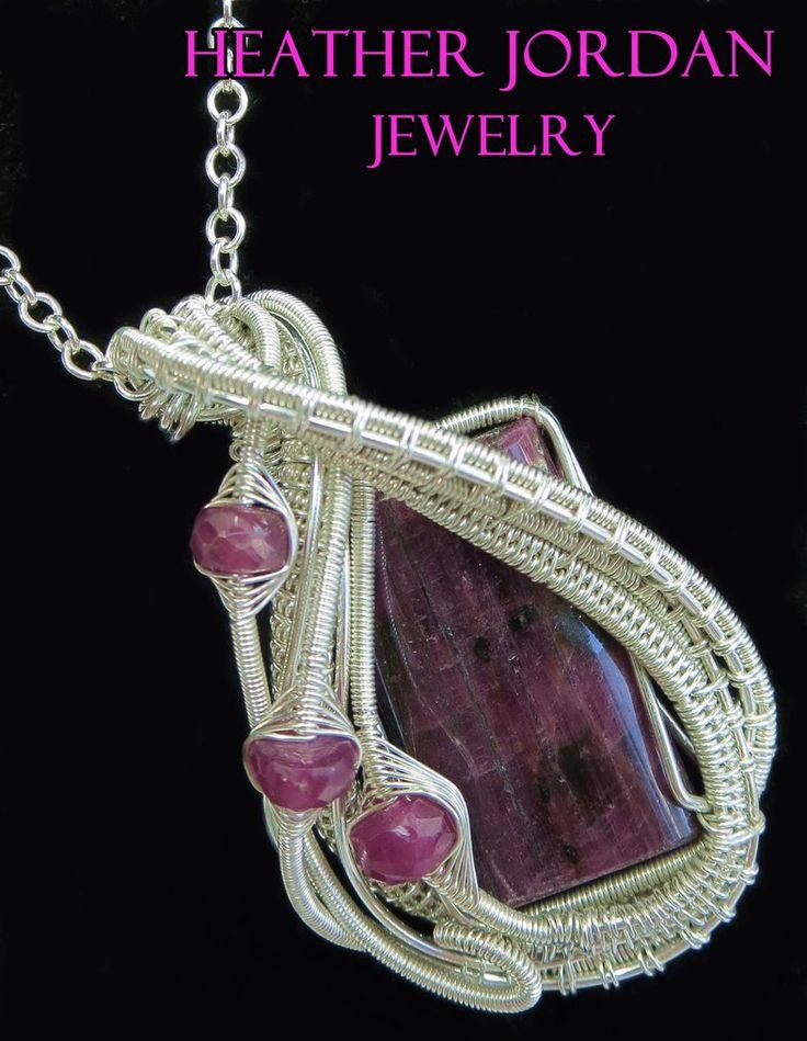Сырое, полированное рубиновое обернутое ожерелье в Стерли HeatherJordanJewelry