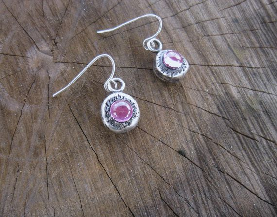 Vegan Earrings-Metal Clay with Lab Created Pink by crobinsondesign