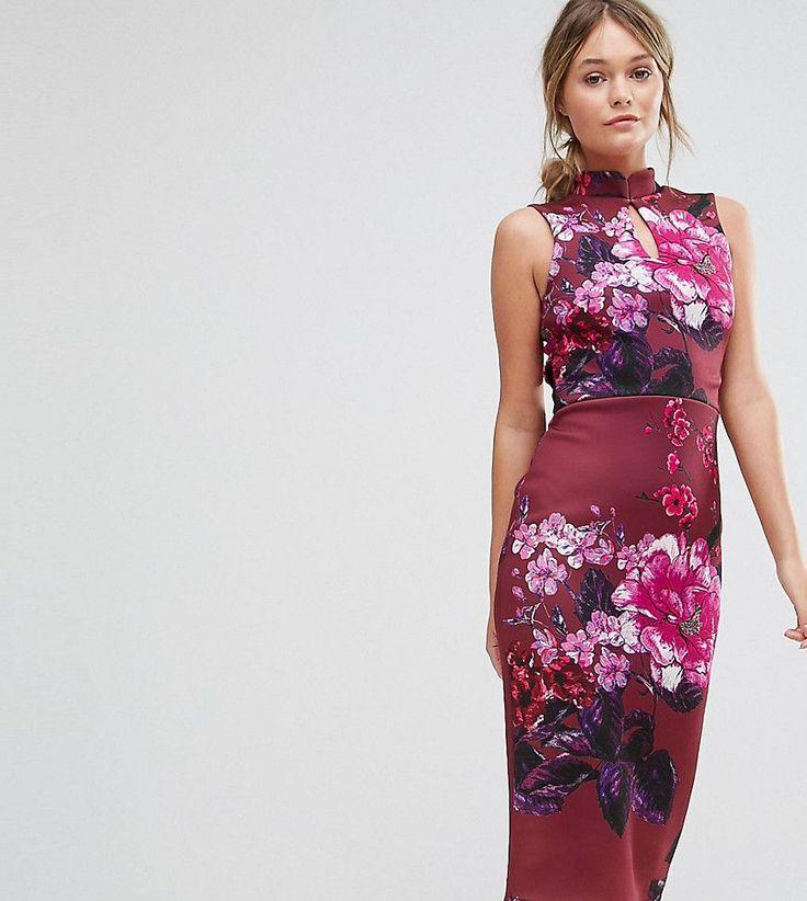 True Violet High Neck Pencil Dress with Mandarin Collar and Cap Sleeve