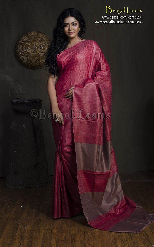 2ca4652663 Gicha Tussar Silk Saree in Red   Tussar Silk Saree in 2019   Tussar ...