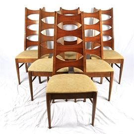 A Collection Of Six Mid Century Modern Chairs In Cherry. These Chairs  Feature A Tall Back With Four Graduating Concave Splats Over A Yellow Hue  Upholstered ...