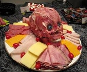 Zombie meat covered skull with ham and roast beef surrounded by deli foods!